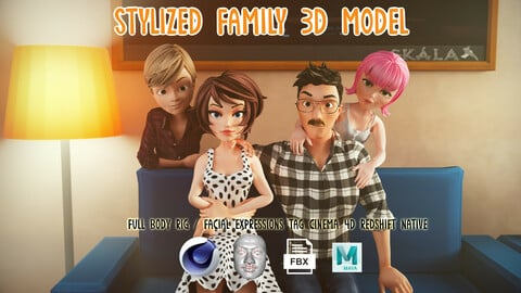 Stylized Family Rigged / Cartoon Characters Pack