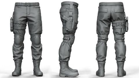 Military Tactical Pants (High-Poly models)(ztl/obj files)