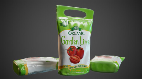 Garden fertilzer package with soil and lime