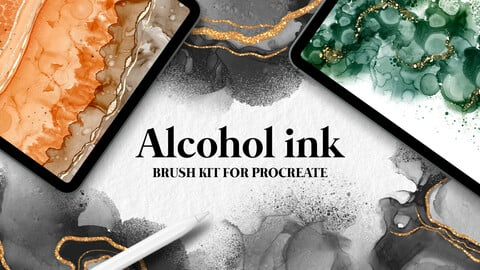 Alcohol ink brushes for Procreate
