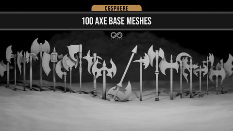 100 Axe Base Meshes