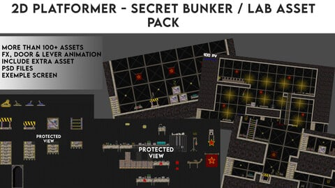 2D Plateformer - Secret Bunker / Lab Asset