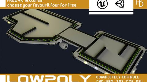 3D Game road platform Lowpoly