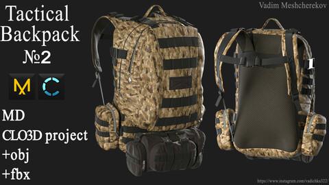 Tactical Backpack №2. Marvelous Designer / Clo 3D project +obj/fbx
