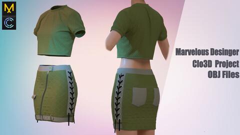 OCTAVE 999 Ladies' skirt and tank top / Marvelous Desinger/Clo3D Project+OBJ File