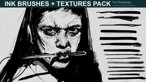 Manga Ink Brushes + Halftone Textures for Photoshop