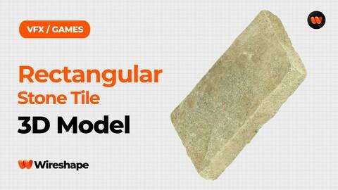 Rectangular Stone Tile Raw Scanned 3D Model