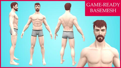 Damien: Cartoon Basemesh Male Character- Rigged
