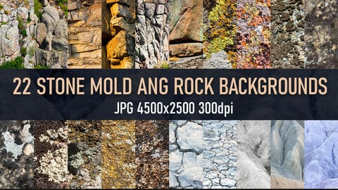 22 Stone, rock mold and ground photo reference texture backgrounds.
