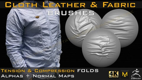 50 cloth Leather & Fabric Brushes (4k) Tension & Compression Folds- Alpha + Normal Maps ( Vol.04 )