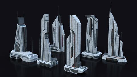 Scifi Building  futuristic Building Kitbash Bundle Vol_1