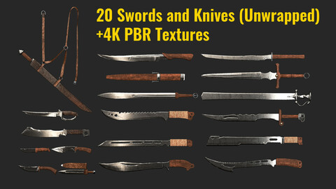 Swords and Knives kitbash+4k Pbr Texture(ready to use)