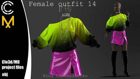 Female outfit 14. Marvelous Designer/Clo3d project + OBJ.