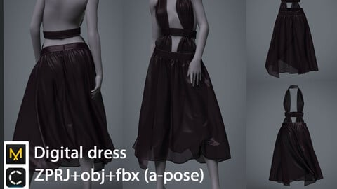Dress / clo3d / marvelous designer