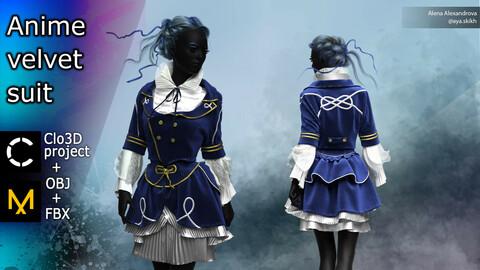 Anime velvet suit. Clo3D project, MD.