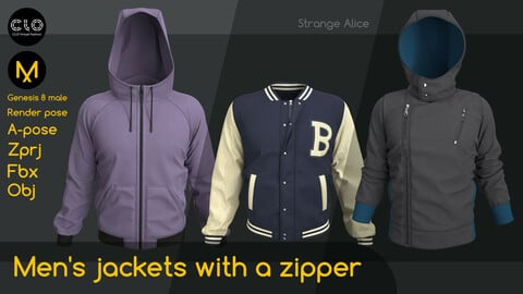 Men's jackets with a zipper. Clo3d, Marvelous Designer projects.