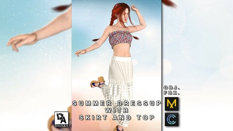 Summer dressup with skirt and top - Marvelous Designer / Clo