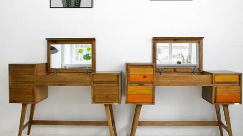Scandinavian solid wood 1180 storage mirror vanity
