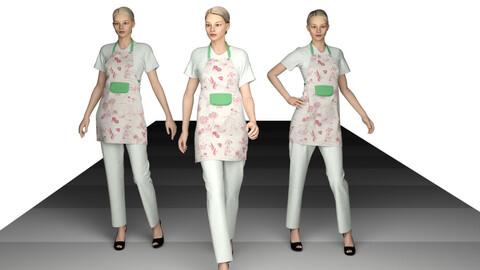 Three ladies in aprons