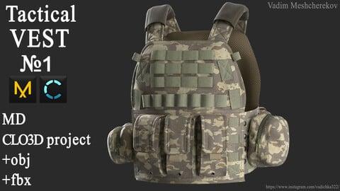 Tactical VEST №1. Marvelous Designer / Clo 3D project +obj/fbx