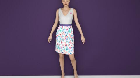 Lady in Printed Skirt 3D model