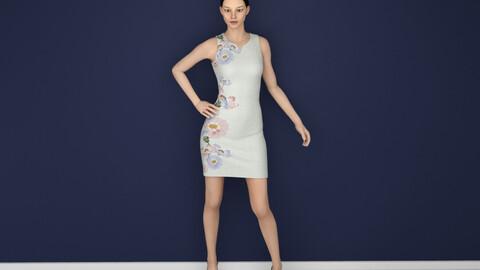 Printed dress 3D model