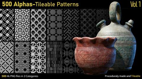 500 Alphas-Tileable Patterns-Vol1