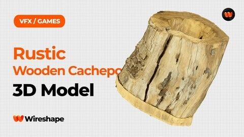 Rustic Wooden Cachepot Raw Scanned 3D Model