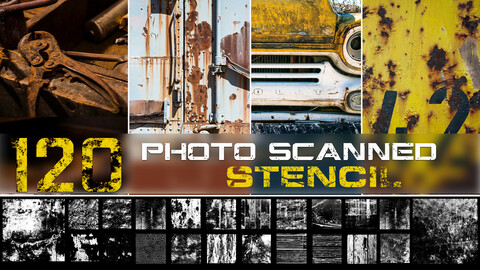120+ Stencil library | Grunge - Flakes - Weathered wood & Scratches + painted walls  | series 01