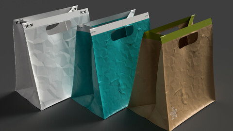 Fashion portable paper bag 3D model