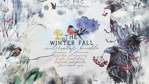 The Winterfall bundle. 100 PNG elements watercolor