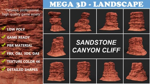 Low poly Sandstone Canyon Cliff 210907