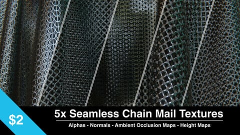 5x Seamless Chain Mail Textures