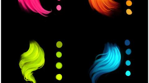 Hair color neon palette for Clip Studio Paint and Ex
