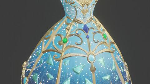 Magical Fairy Dress (game ready + fbx + blend + VRC + Rigged )