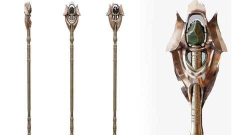 Witches Magic Staff Game Ready Low-poly 3D model