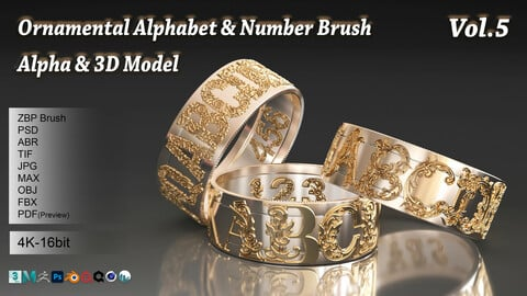 108 Ornamental Alphabet & Number Brush + Alphas + 3D model vol