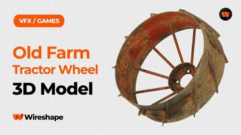 Old Farm Tractor Wheel Raw Scanned 3D Model