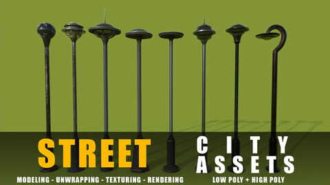 street lams series old game ready street assets low poly and high poly