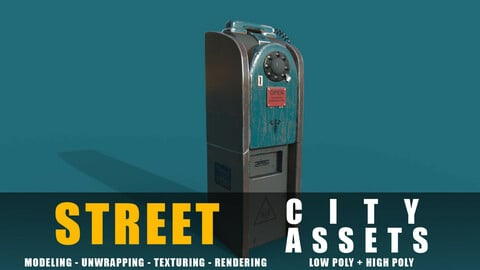 Phone Station old game ready street assets low poly and high poly