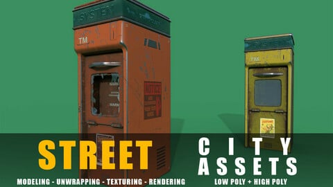 news stand series old game ready street assets low poly and high poly