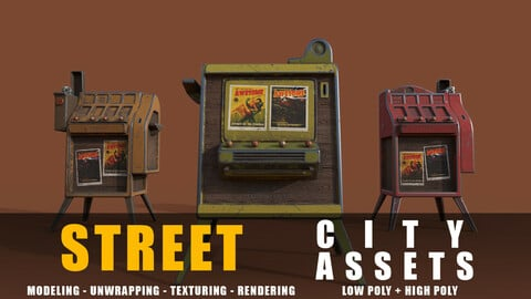 Street Cigarette Stand series old game ready street assets low poly and high poly
