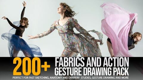 200+ Fabrics & Action Gesture Drawing Pack