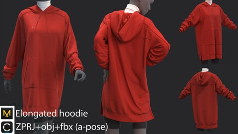 Elongated hoodie (3 garments) - clo3d/marvelous designer