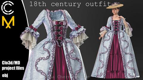 18th century outfit. Marvelous Designer/Clo3d project + OBJ.