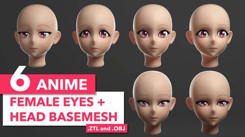 6 Anime Female Eyes + Head Basemesh*
