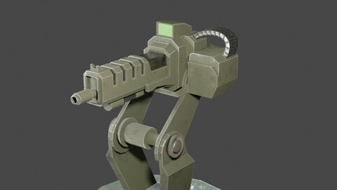 Machine Gun Turrent low poly PBR for game ready Low-poly 3D model