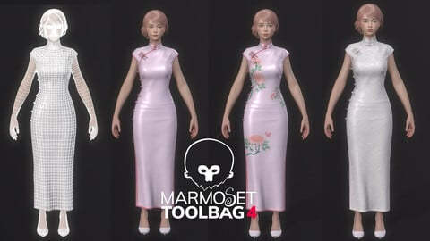 Woman-in-cheongsam-suit-Game Assets chi-pao chirpaur cheong-sam