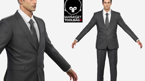 Business man in a black Suit Game Assests Marmoset toolbag 4