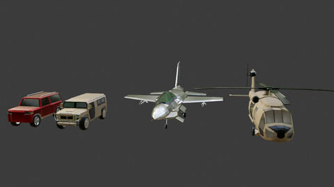 Low Poly Car Jet Helicopter Vehicle Pack